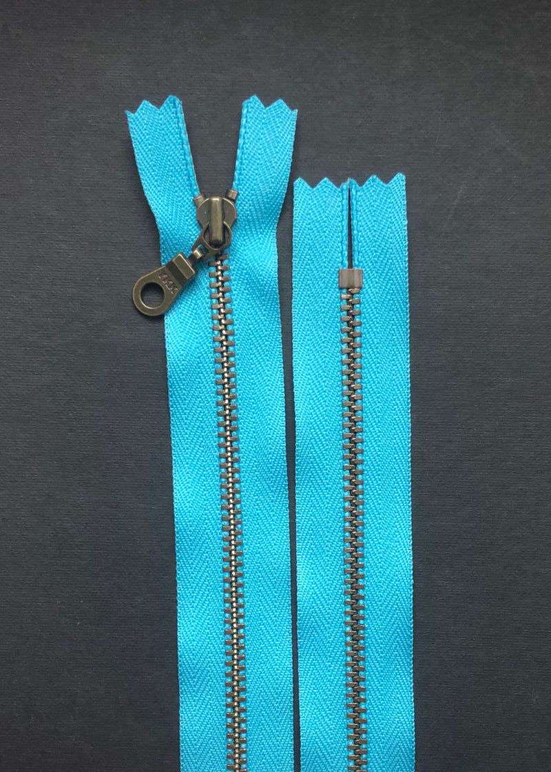 YKK Antique Brass Zip with Donut Pull, Parrot Blue