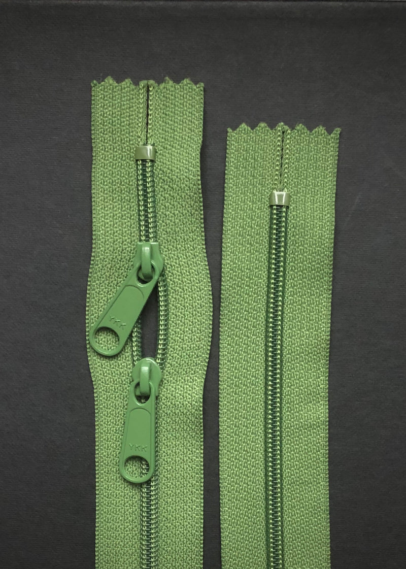 YKK Nylon Zip with Double Long Pull, Moss Green