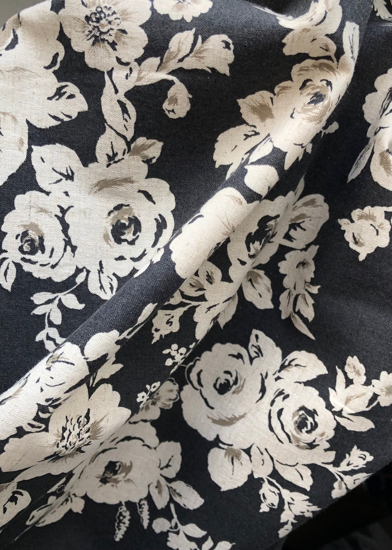 Flora, Japanese Cotton Linen Black