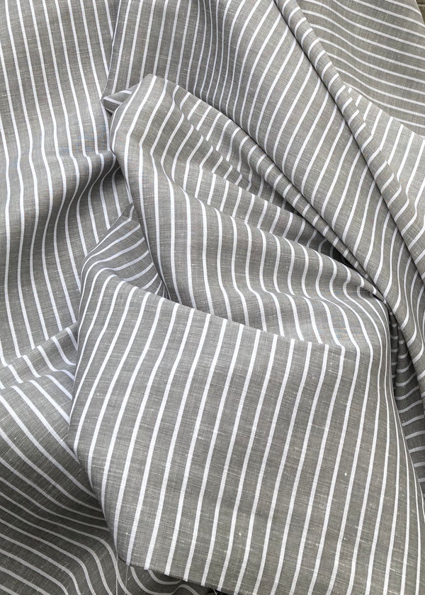 Timely Stripe - Smokey Grey. Linen Tencel
