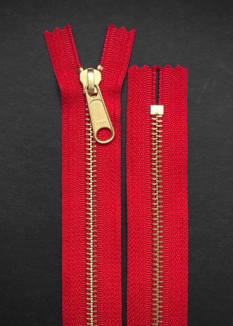 YKK Brass Zip with Long Pull, Red