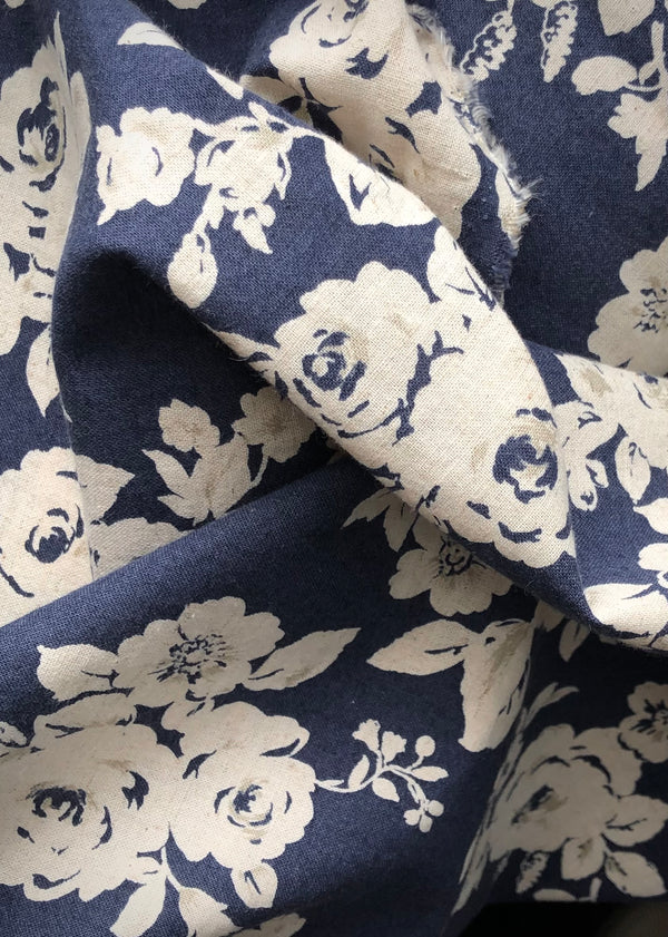 LAST PIECE! Flora, Japanese Cotton Linen Navy
