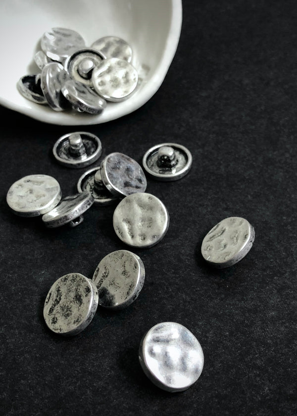 Metal Buttons -  Shank Aged Silver 16mm