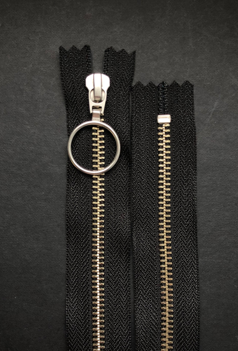 YKK Nickel Zip with Ring Pull, Black