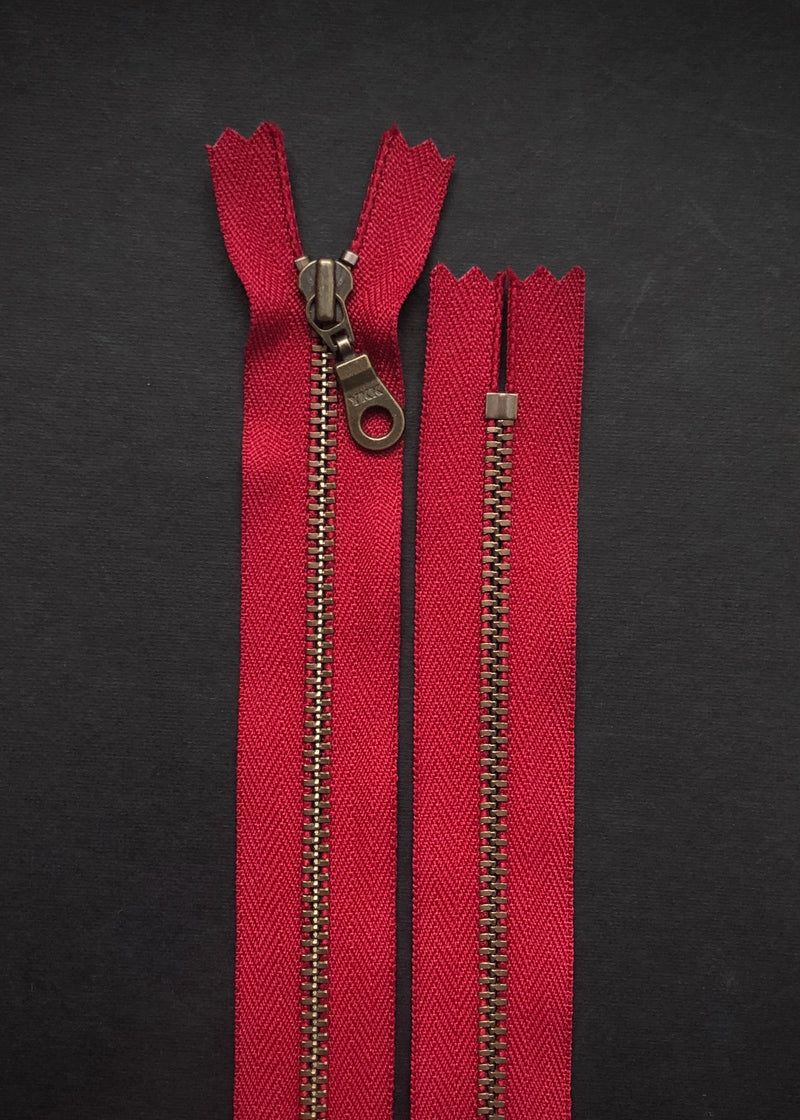 YKK Antique Brass Zip with Donut Pull, Cranberry Red