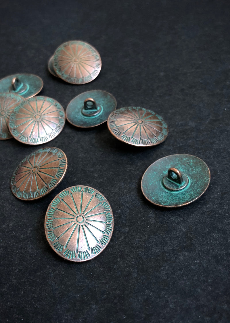 Metal Buttons -  Ray Copper with Turquoise. 26mm