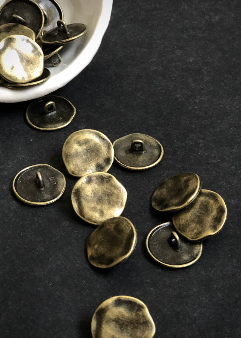 Metal Buttons -  Shank Aged Bronze 19mm