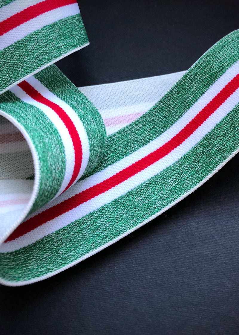 40mm Wide Elastic - Green + Red Stripe