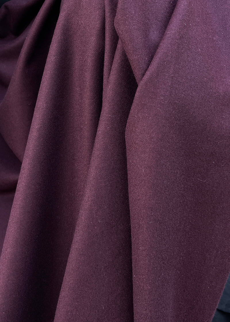 Wool Viscose Coating. Merlot