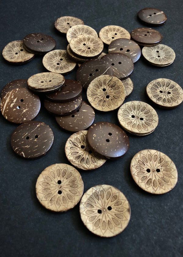 Coconut Shell Buttons, Star Flower. 28mm.