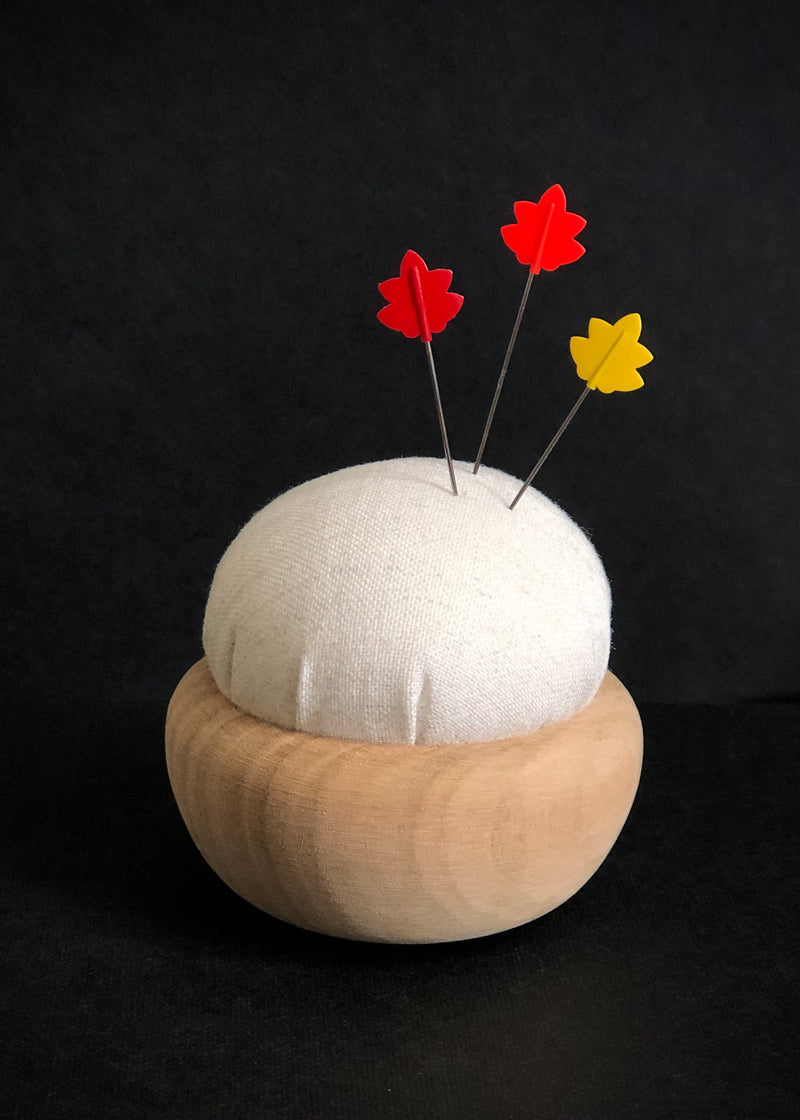 Tulip Cherry Wood Pin Cushion - Off White. Ginhakushoku