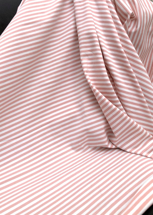 Torpedo Little Stripe Jersey Knit - Blush Pink and White