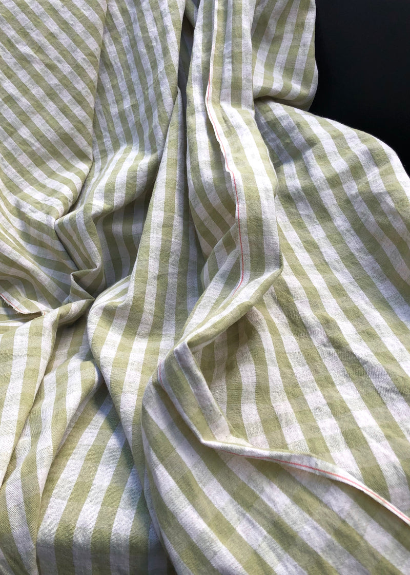 Spring Green Japanese Cotton Linen Check