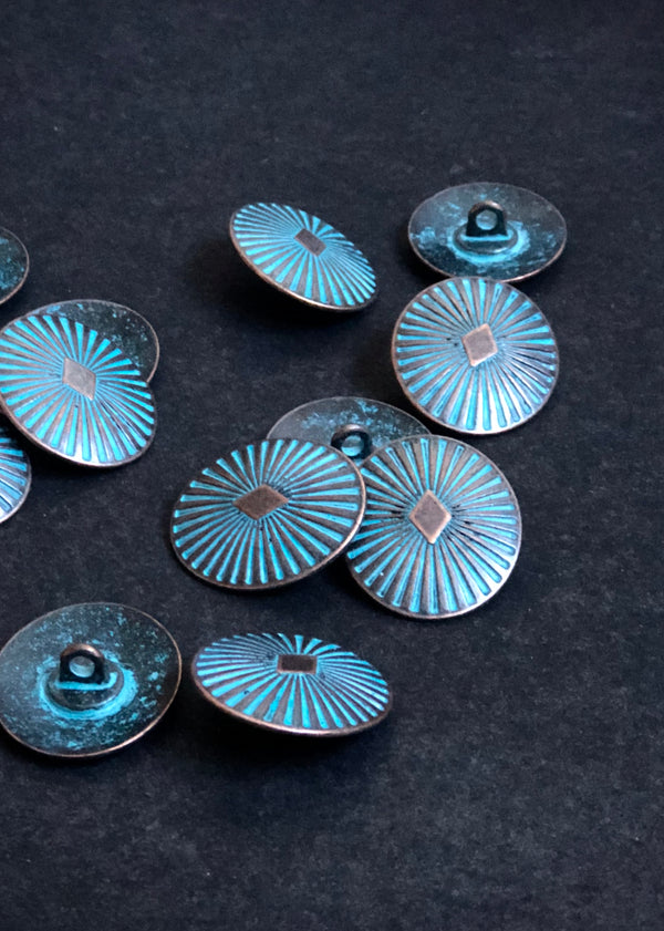 Metal Buttons -  Diamond Copper with Turquoise. 26mm