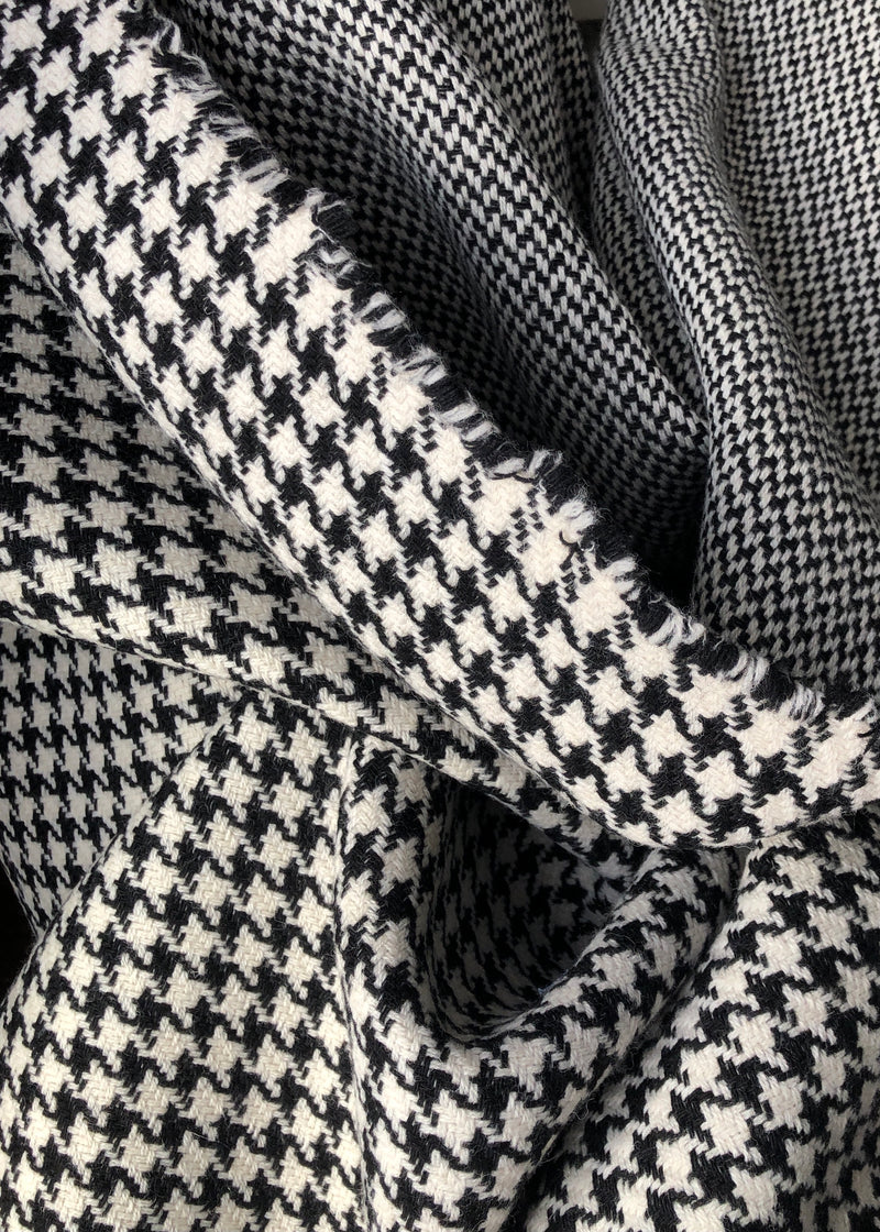 Double Weave Houndstooth Reversible Coating, Black