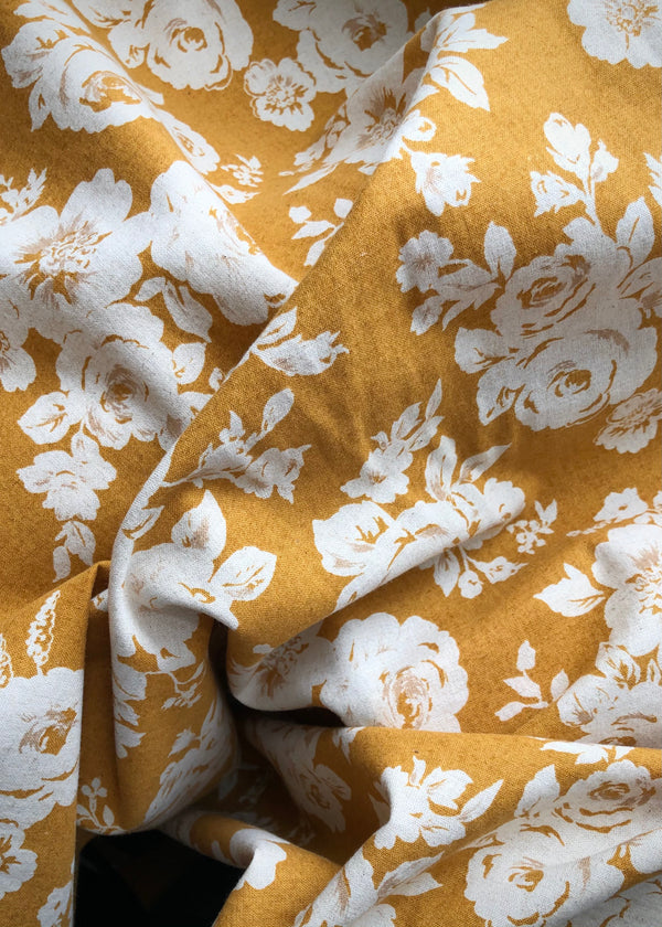 Flora, Japanese Cotton Linen Mustard