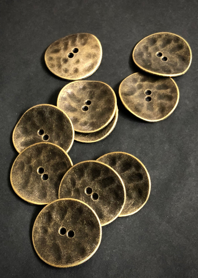 Metal Buttons - Irregular Antique Bronze 30mm