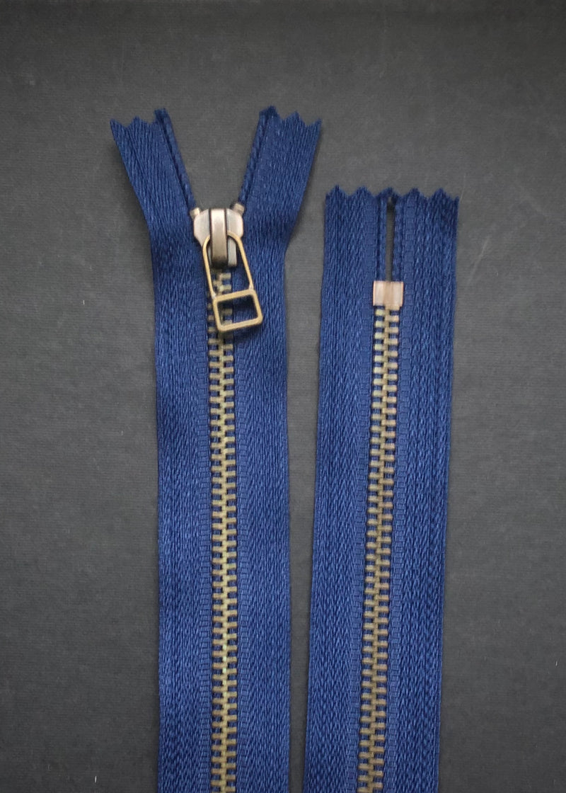 YKK Antique Brass Zip with DHR Pull, Navy