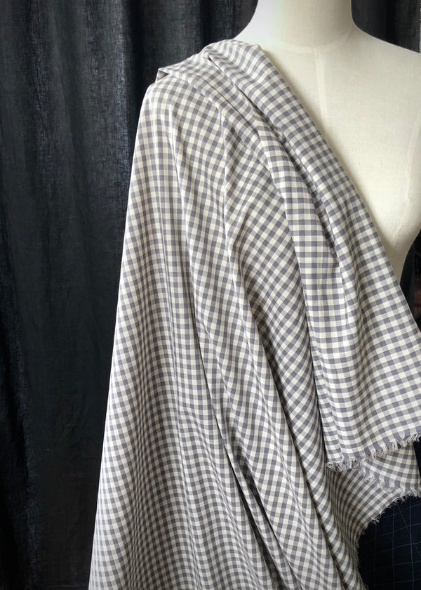 Japanese Cotton Gingham, Steel Grey