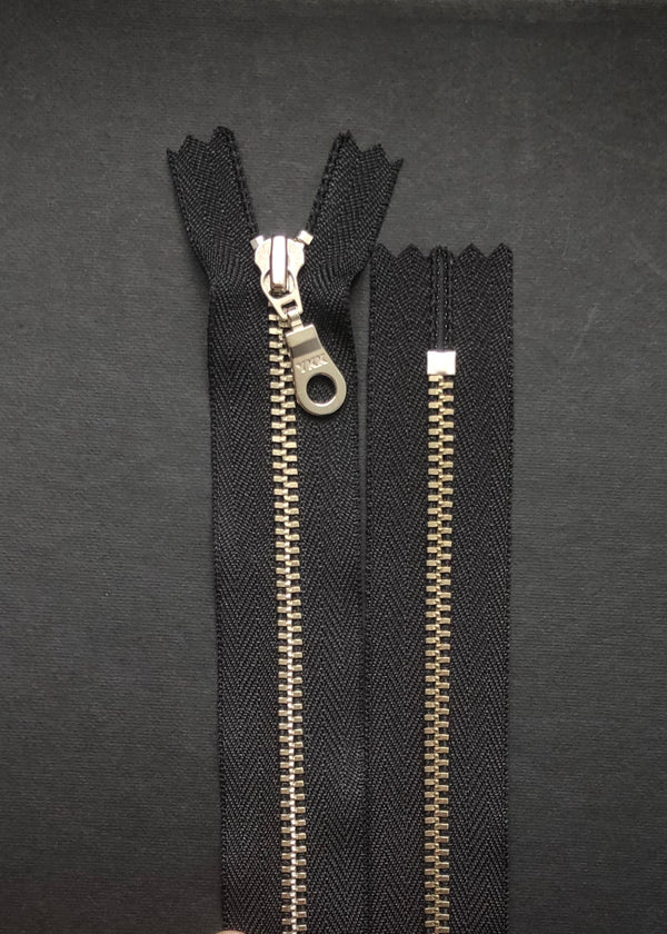 YKK Nickel Zip with Donut Pull, Black