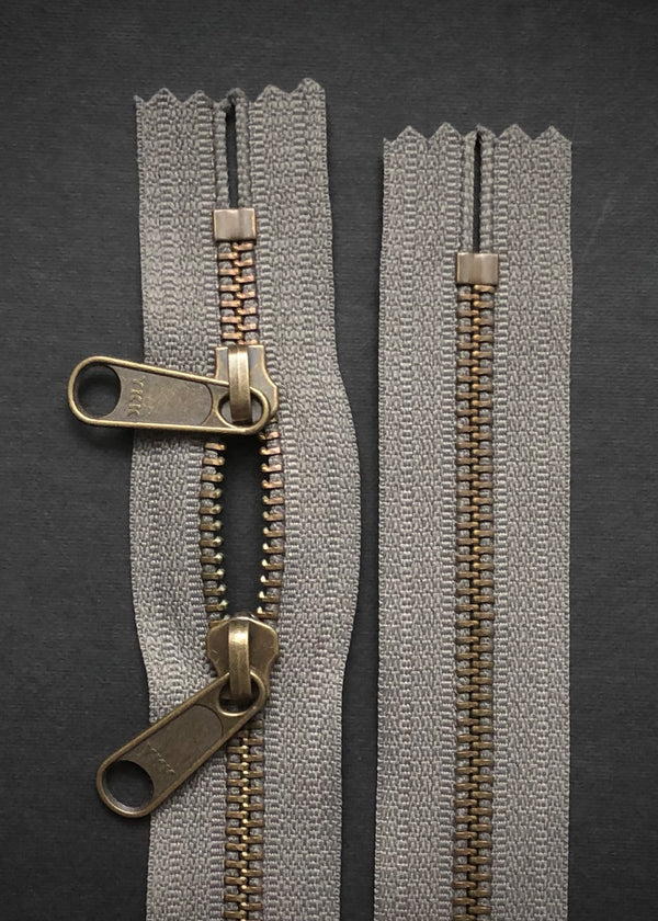 YKK Antique Brass Zip with Double Long Pull, Gunmetal Grey