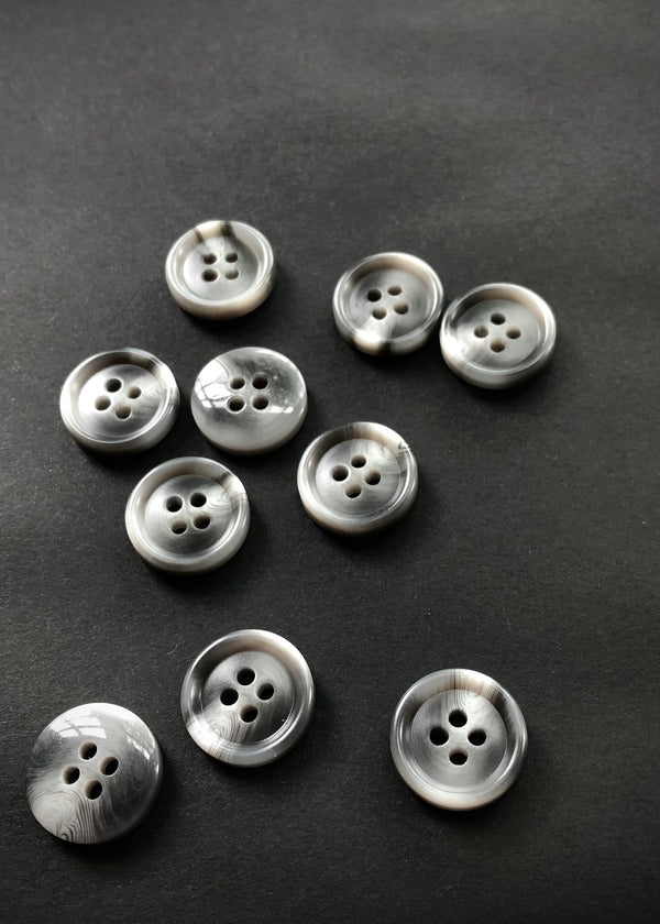 Grey Marbled Buttons 15mm.  10 Pack
