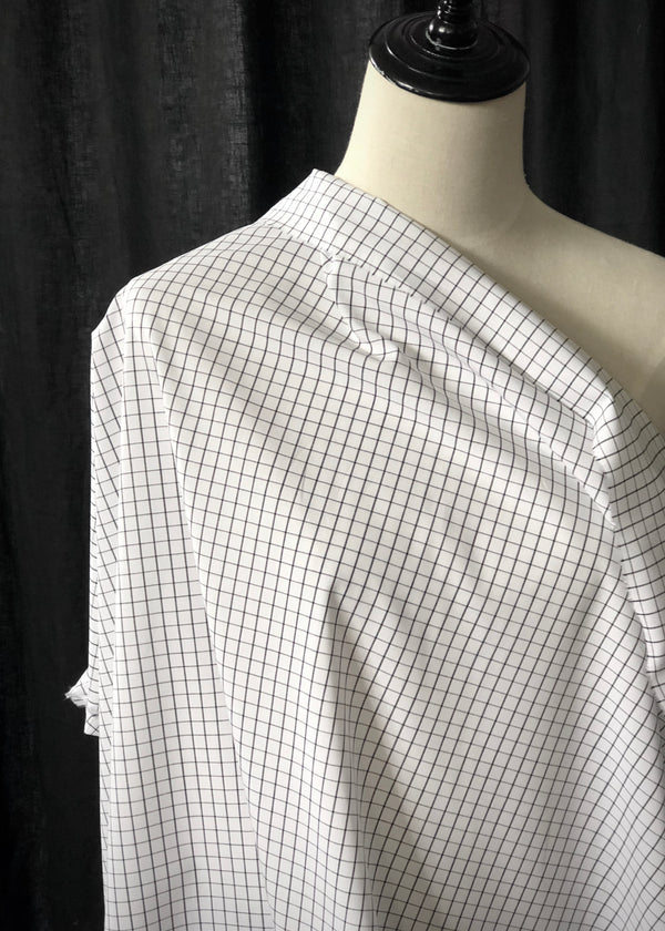 Japanese Cotton Check Shirting White