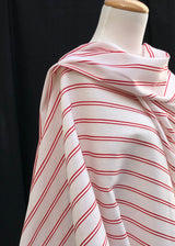Boathouse Stripe - Red. Linen Cotton