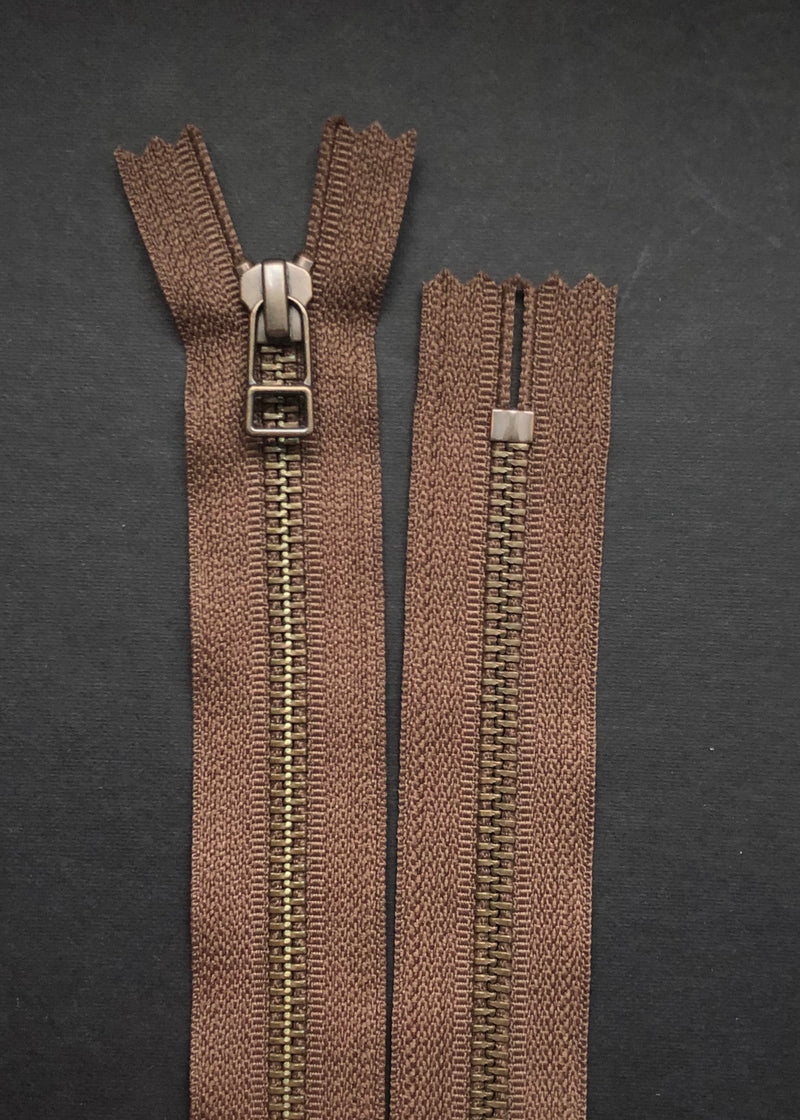 YKK Antique Brass Zip with DHR Pull, Chocolate Brown