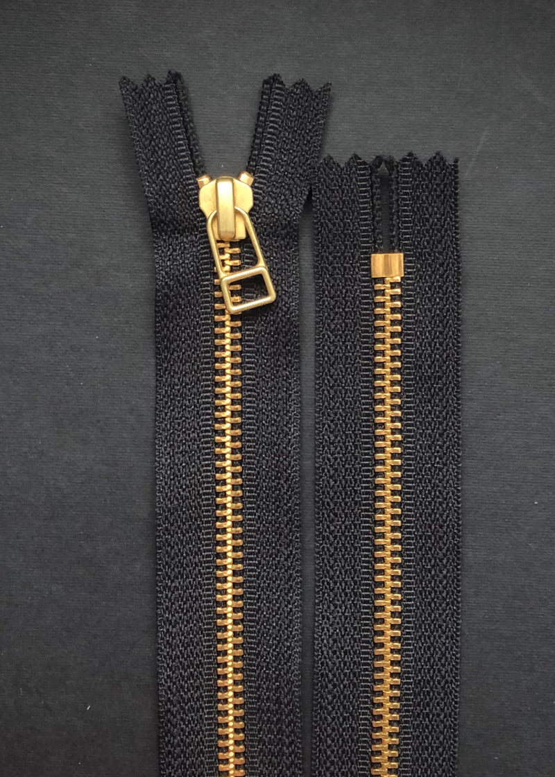 YKK Brass Zip with DHR Pull, Black