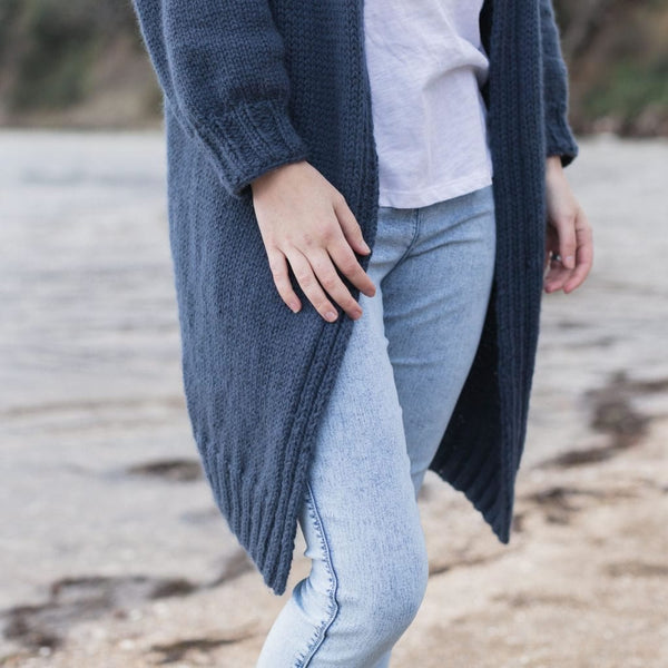Fran Longline Cardigan, The Woven Knitting Pattern