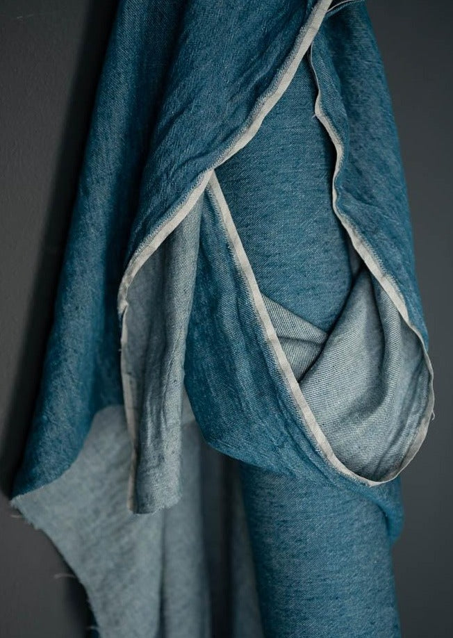 Pavo Blue Laundered Linen
