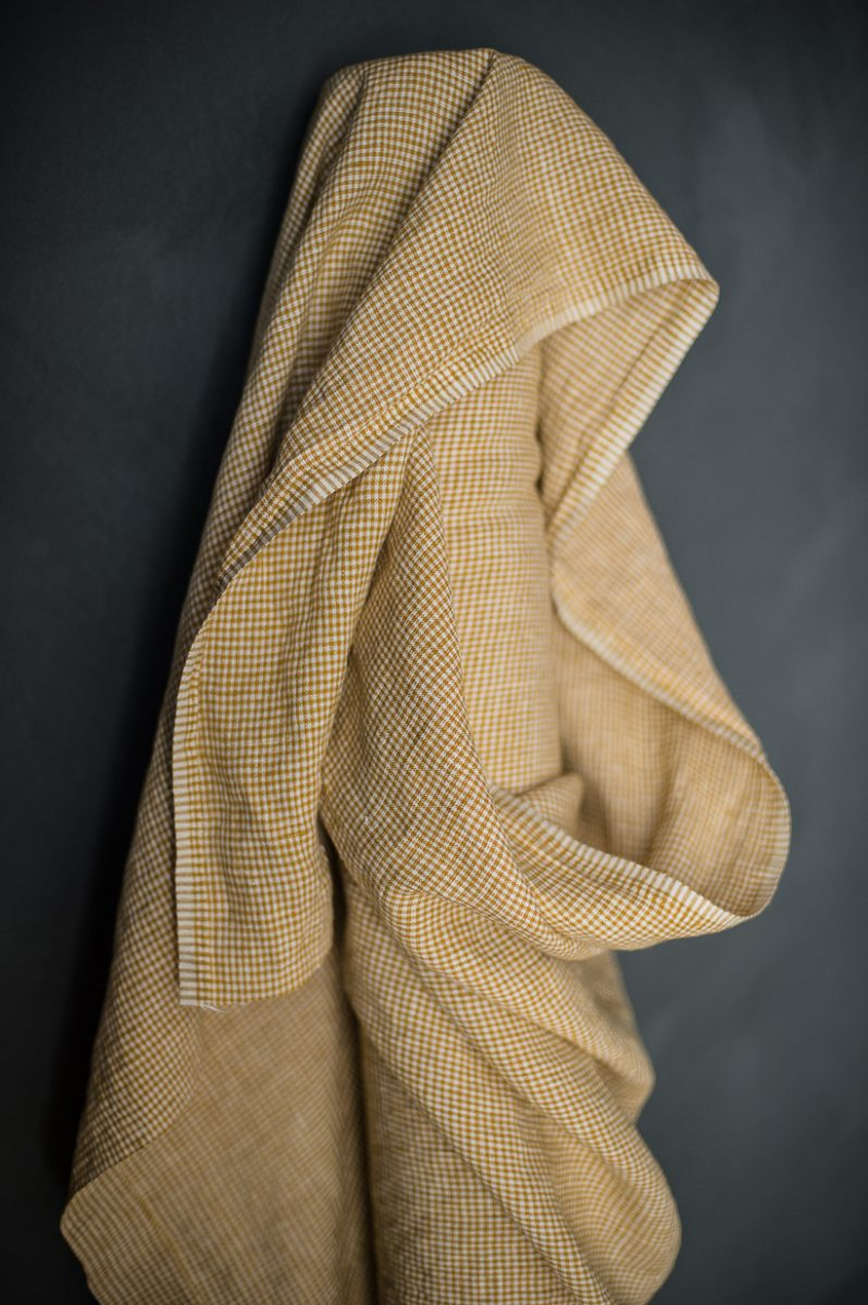 Royal Mustard Check Laundered Linen