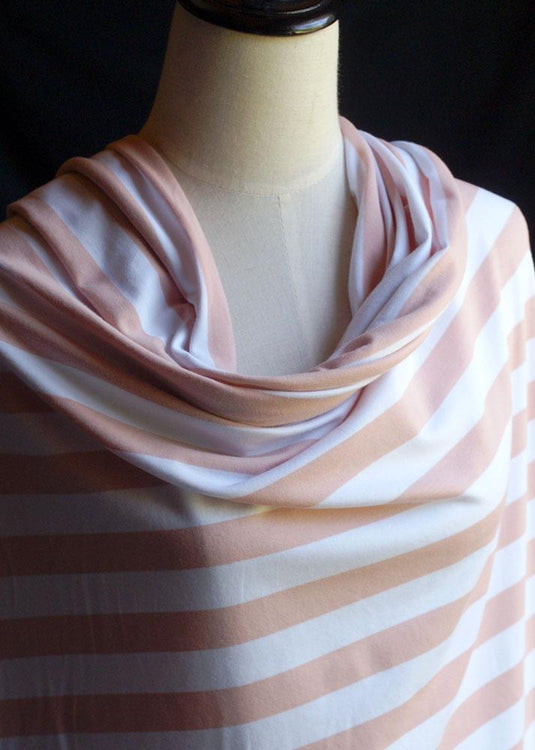Torpedo Stripe Jersey Knit - Blush Pink and White