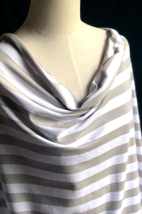 Torpedo Stripe Jersey Knit - Silver and White