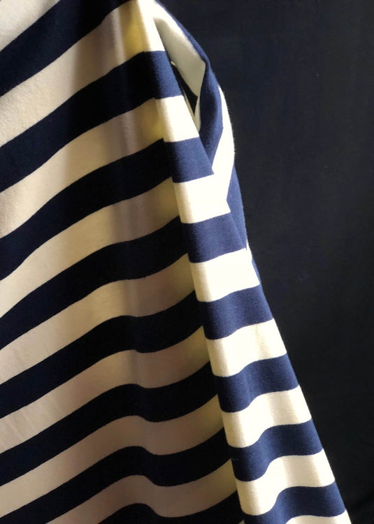Torpedo Stripe Jersey Knit - Navy and Cream.