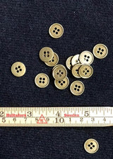 Metal Buttons - Antique Bronze Four Hole 13mm    Set of 6.