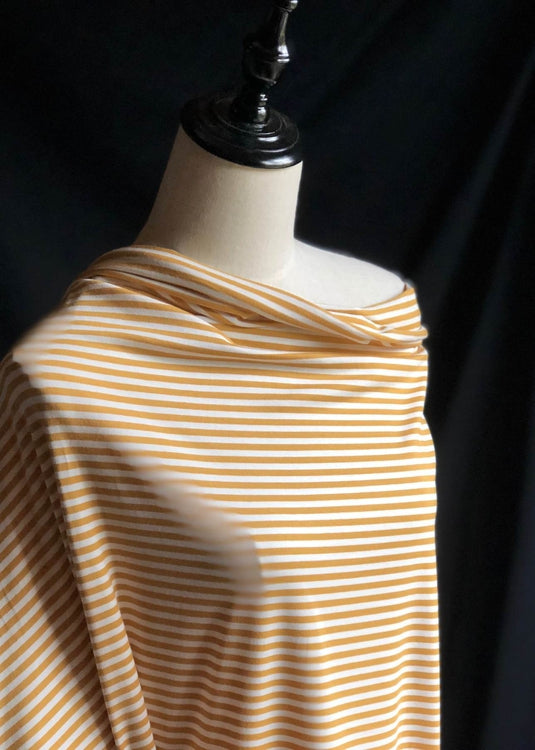 Torpedo Little Stripe Jersey Knit - Mustard and White