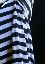 Torpedo Stripe Jersey Knit - Navy and White