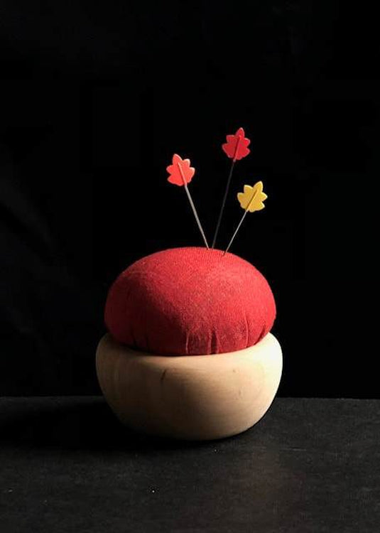 Tulip Cherry Wood Pin Cushion - Vermilion Red. Akabeni.