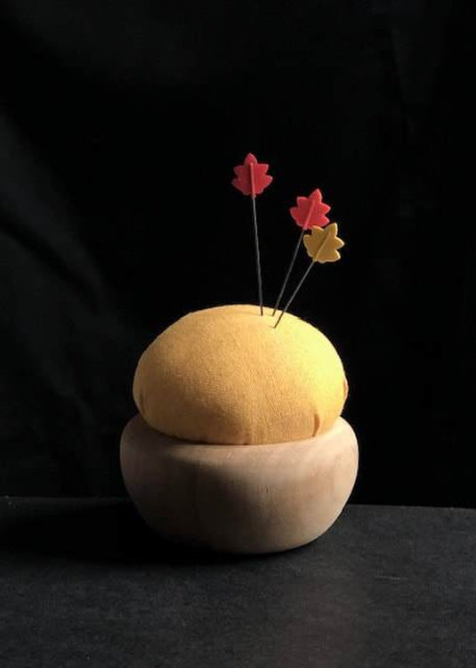 Tulip Cherry Wood Pin Cushion - Yellow. Nanohana-iro