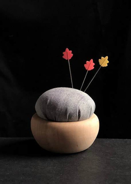 Tulip Cherry Wood Pin Cushion - Grey. Usuzumi-iro