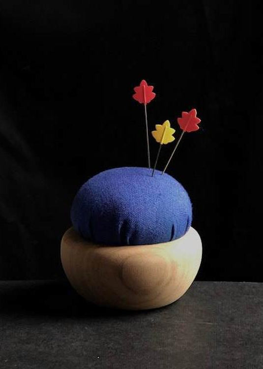 Tulip Cherry Wood Pin Cushion - Blue. Ruri-iro