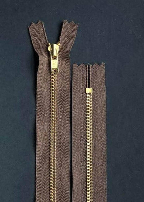 18cm.  YKK Metal, Brass, Closed End Zip - Dark Brown