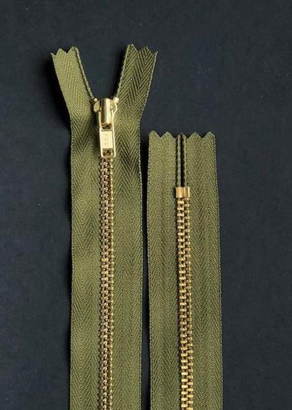 18cm.  YKK Metal, Brass, Closed End Zip - Pine Green