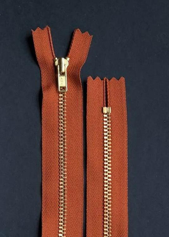 18cm.  YKK Metal, Brass, Closed End Zip - Rust