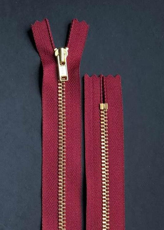 18cm.  YKK Metal, Brass, Closed End Zip - Maroon