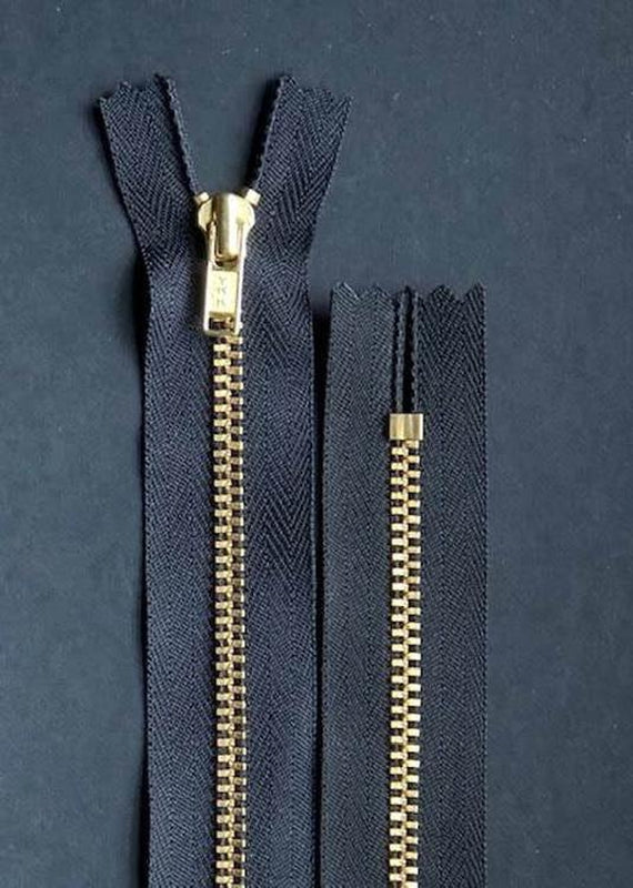 18cm.  YKK Metal, Brass, Closed End Zip - Black