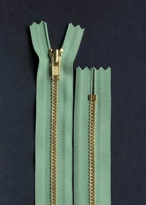 18cm.  YKK Metal, Brass, Closed End Zip - Misty Meadow