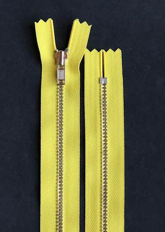 18cm.  YKK Metal, Closed End Zip - Dandelion Yellow